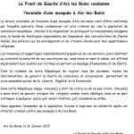 Communiqué du front de Gauche concernant l'incendie d'une mosquée à Aix